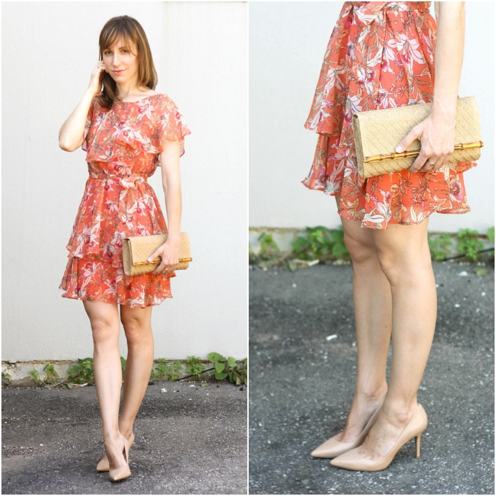 Orange Dress Nude Beige Shoes