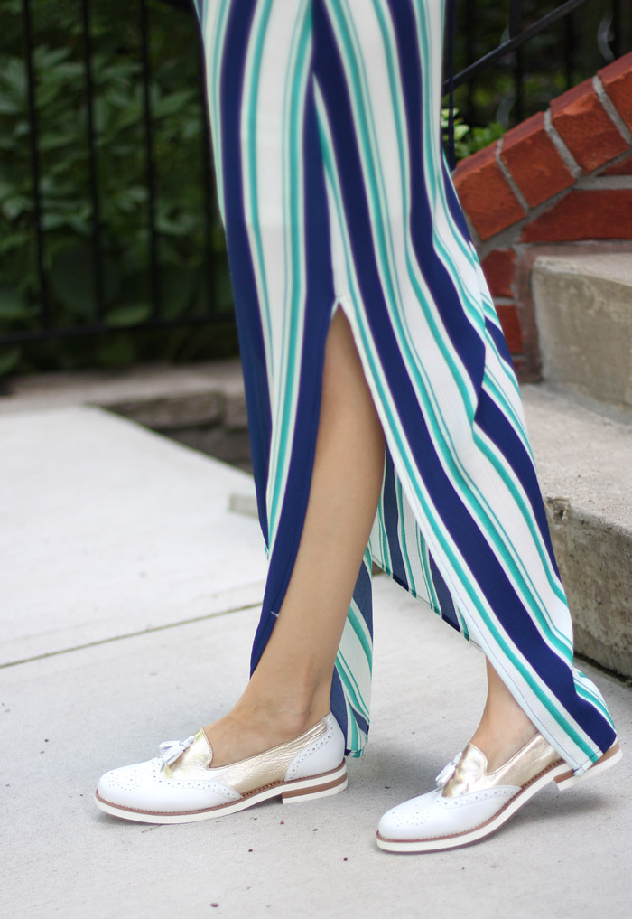 White Loafers Stripe Dress