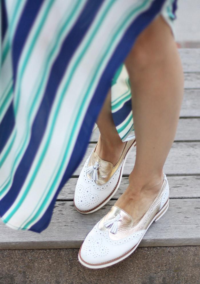 White Loafers Stripe Green Maxi Dress