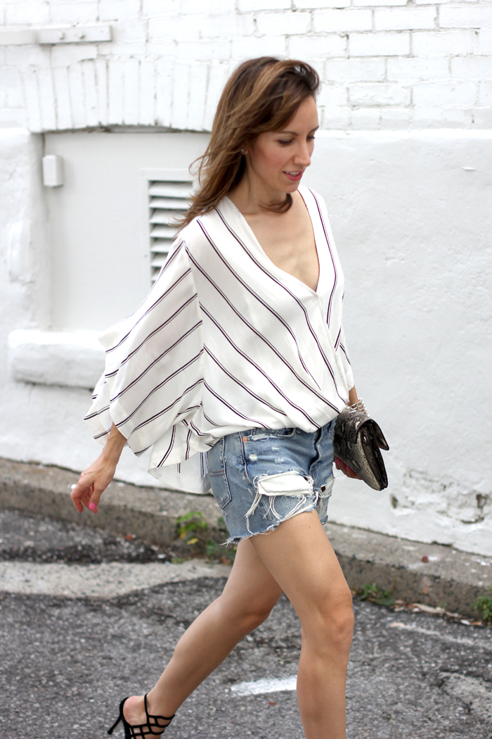 Black Cage Sandals Ripped Shorts Outfit