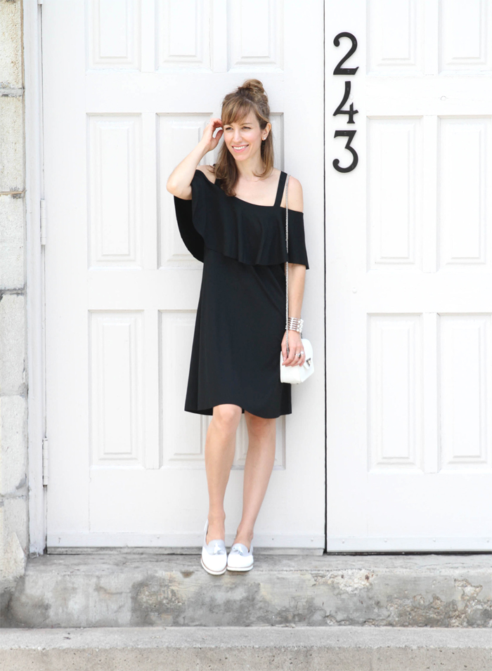 Black Off the Shoulder Dress with White Loafers