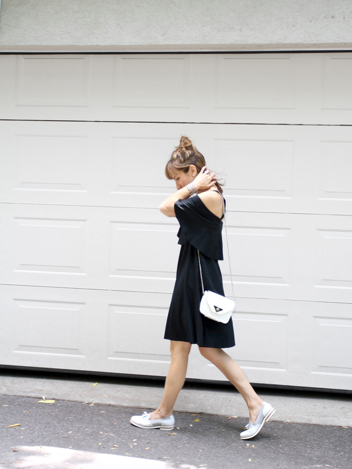 Off the Shoulder LBD With Loafers