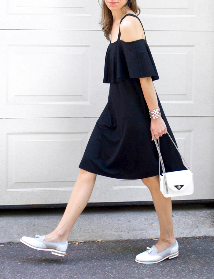 Off the shoulder black dress with Loafers