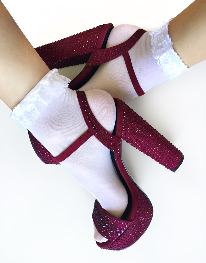 White Lace Ankle Summer Socks with Sandals