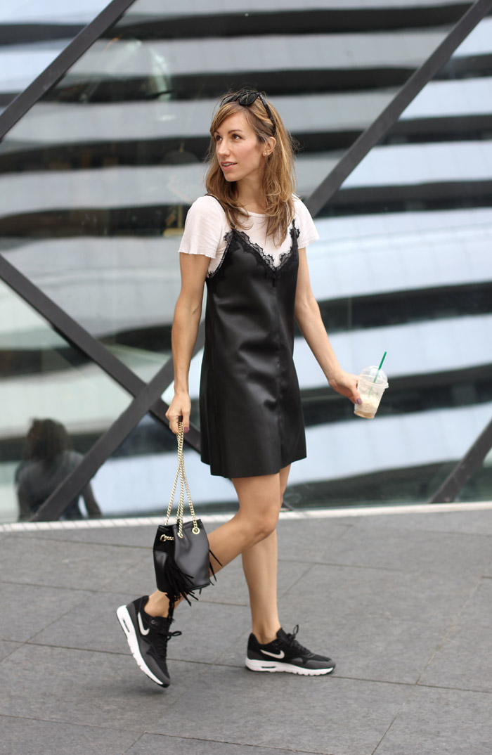 Faux Leather Black Slip Dress with Sneakers Nike Air Max Thea