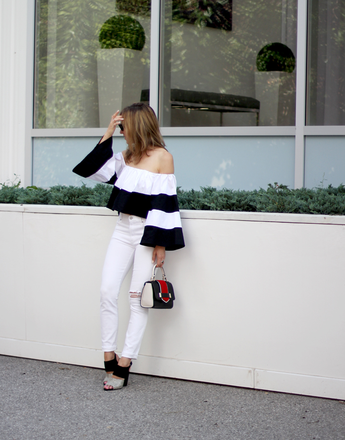 black-and-white-heels-with-bell-sleeved-off-the-shoulder-top