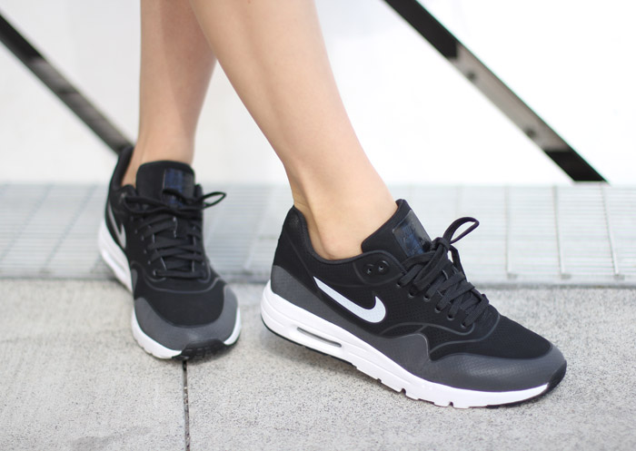 86975c7929f Faux Leather Black Slip Dress with Sneakers  Nike Air Max Thea