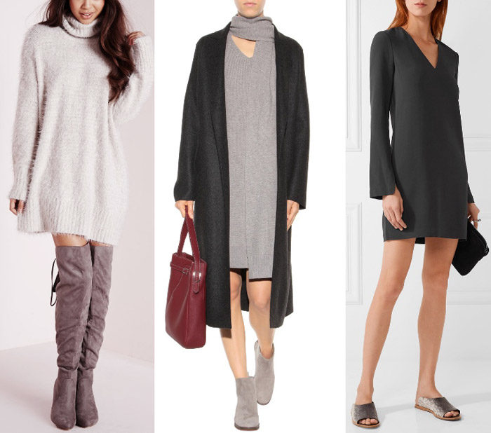 What color shoes to wear with a grey dress or outfit