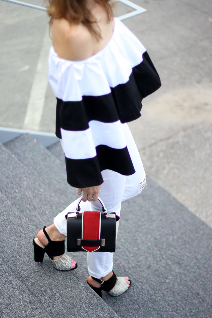 black-white-heels-off-the-shoulder-top-outfit