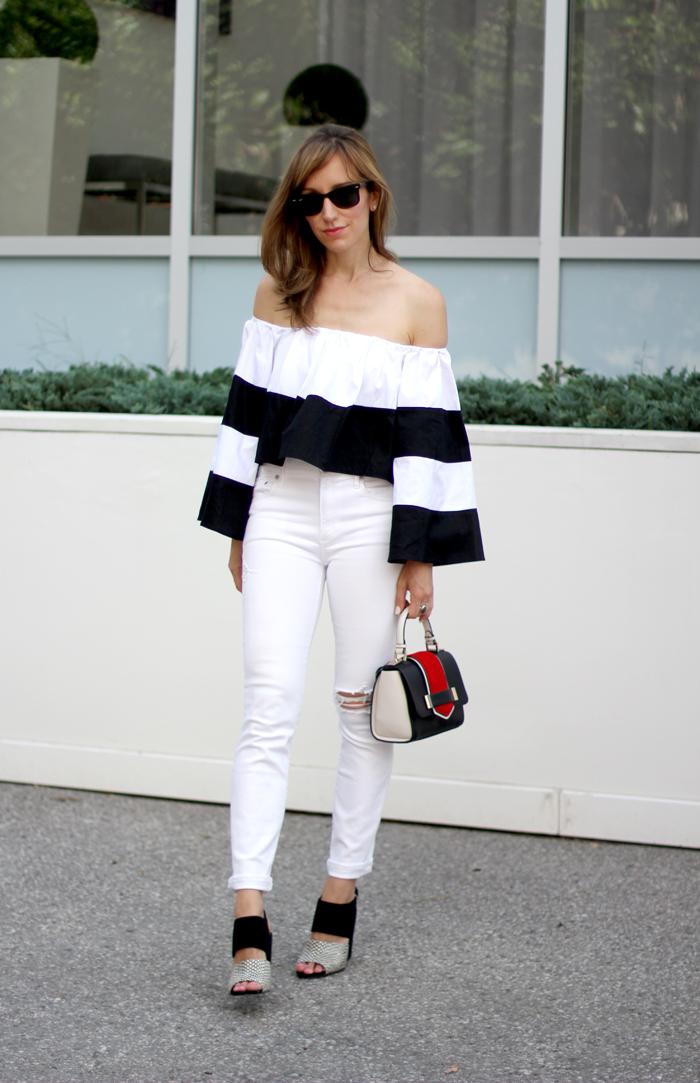 black-white-heels-off-the-shoulder-top