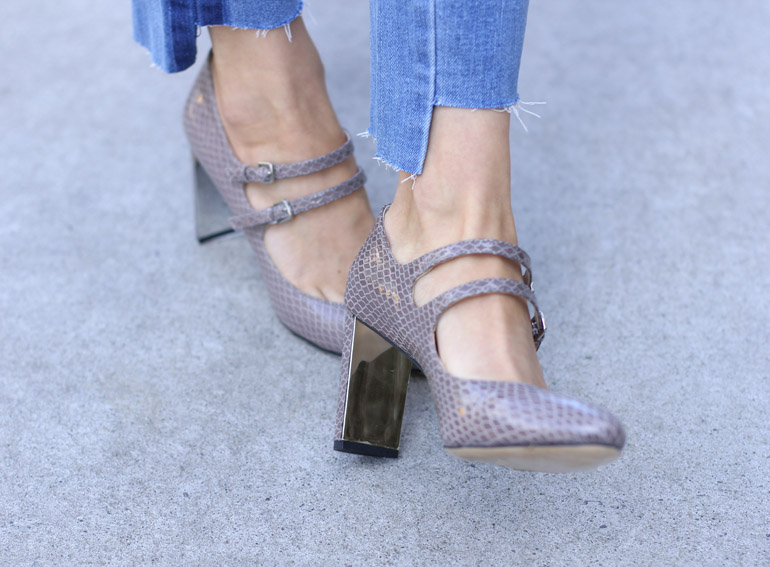 Mary Jane Heeled Shoes for Women with light Purple Reptile Print and double straps.