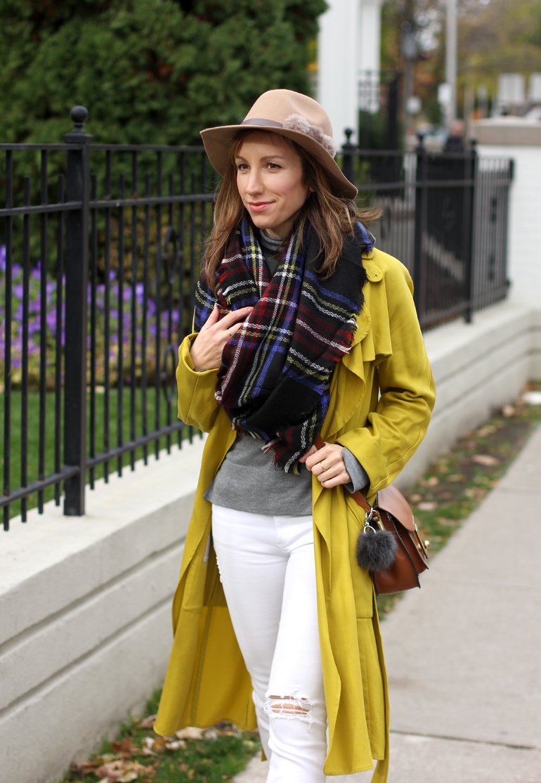 yellow-trench-with-plaid-blanked-scarf