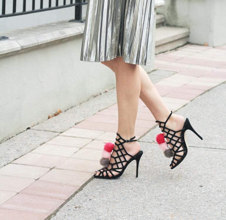 Pink Pom Pom Shoes & Metallic Skirt