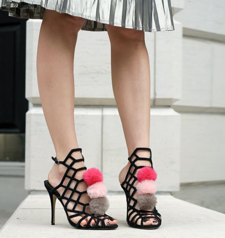 Pink Pom Pom Shoes + Pleated Metallic Skirt
