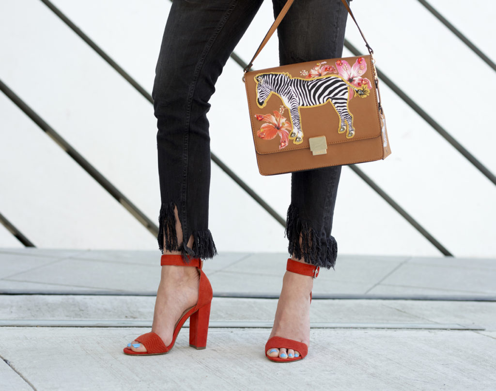 Day to Night Outfit Red Heels Zebra Purse