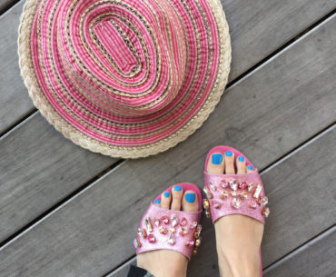 Sparkly Pink Slides and Hat