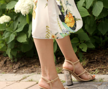 Floral Print Kimono with Bamboo Heels