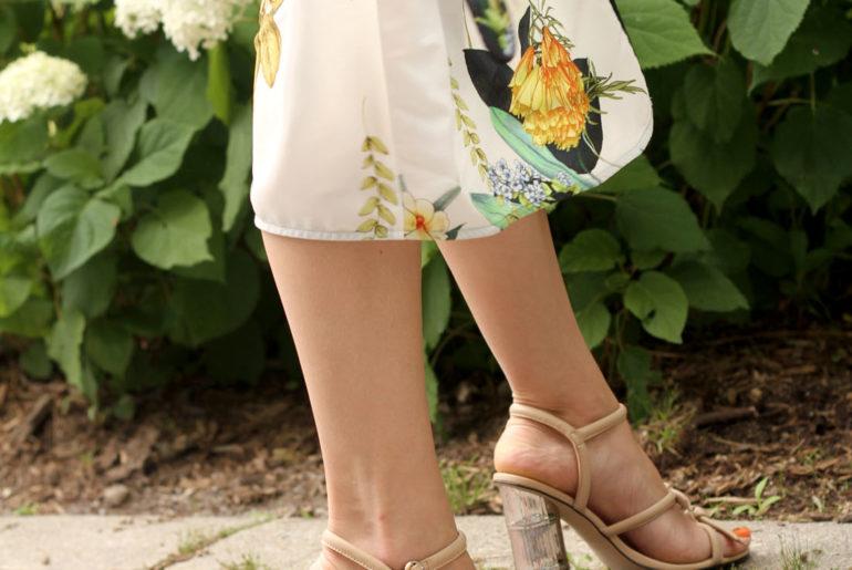 Floral Print Kimono Jacket & Bamboo Heels