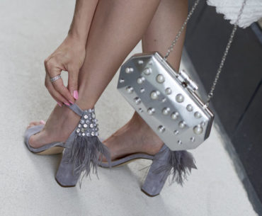 Grey Pearl Heels With Feathers & Pearl Clutch