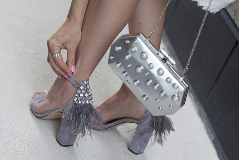 Grey High Heels with Feathers & Pearls Styled with a White Dress