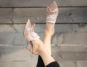 Blush satin mules with rhinestones nine west