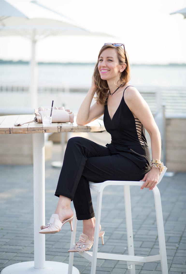 Rachel Sin Black jumpsuit blush accessories