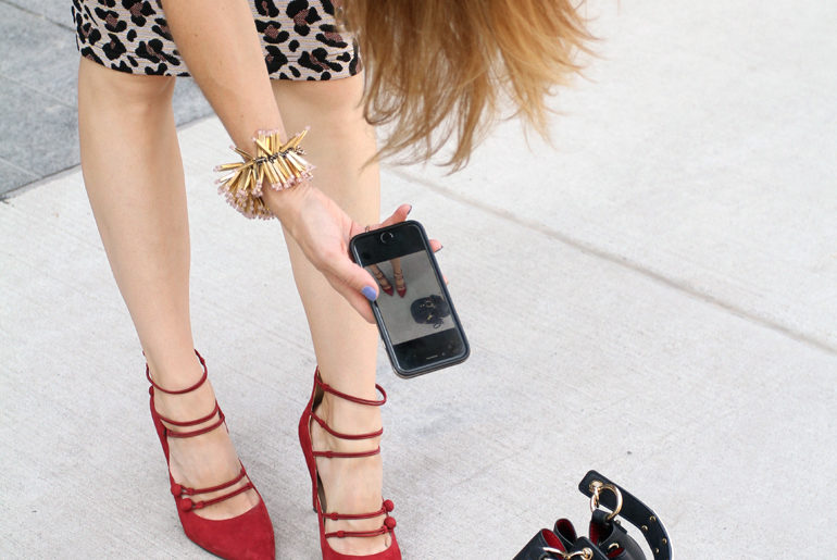 Red Strappy High Heels & Leopard Print Pencil Skirt