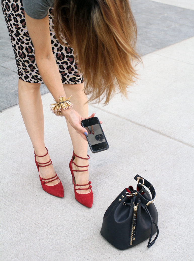 a5e79d7ada37 Red Strappy High Heels with a Leopard Print Pencil Skirt