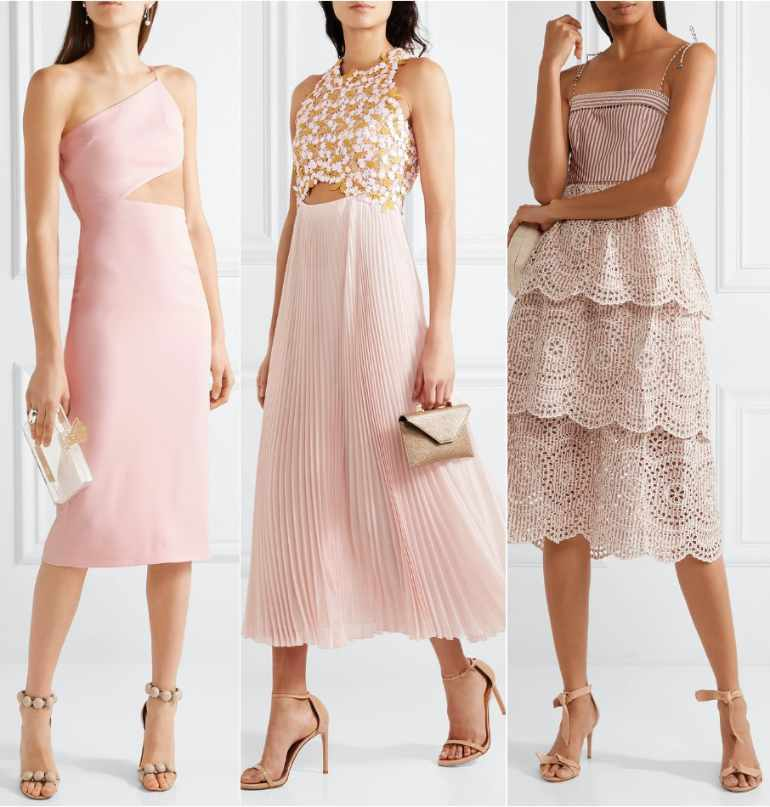 3 Women wearing blush pink dresses with beige shoes
