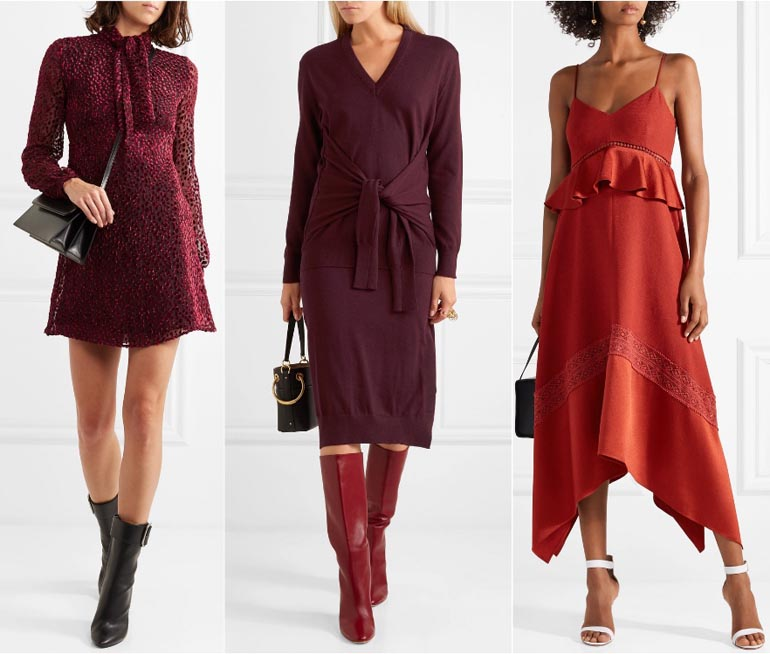What Color Shoes to Wear with Burgundy Dresses & Outfits