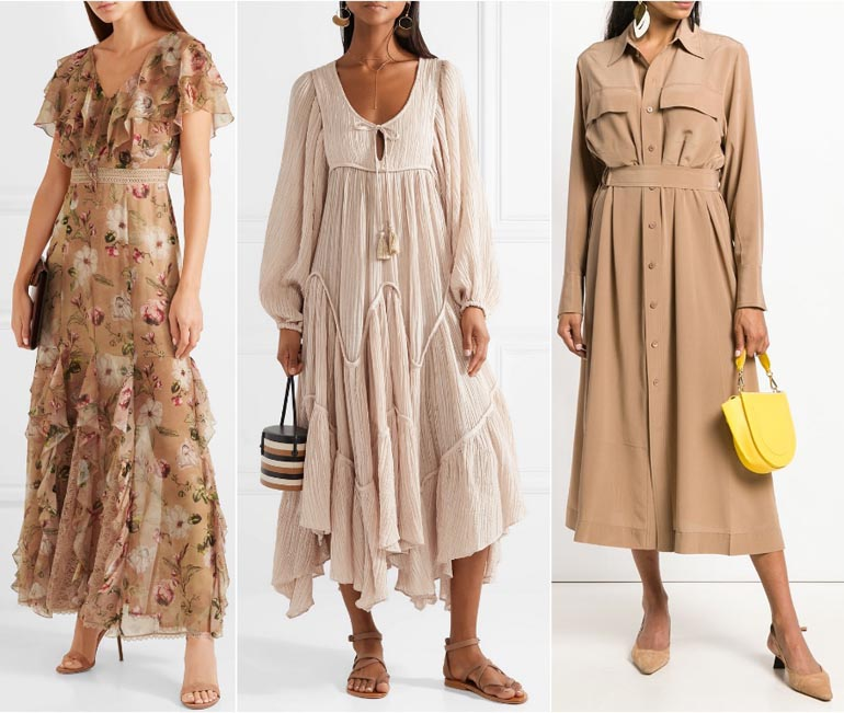 What Color Shoes to Wear with Beige Dress Outfit - Off White Tan