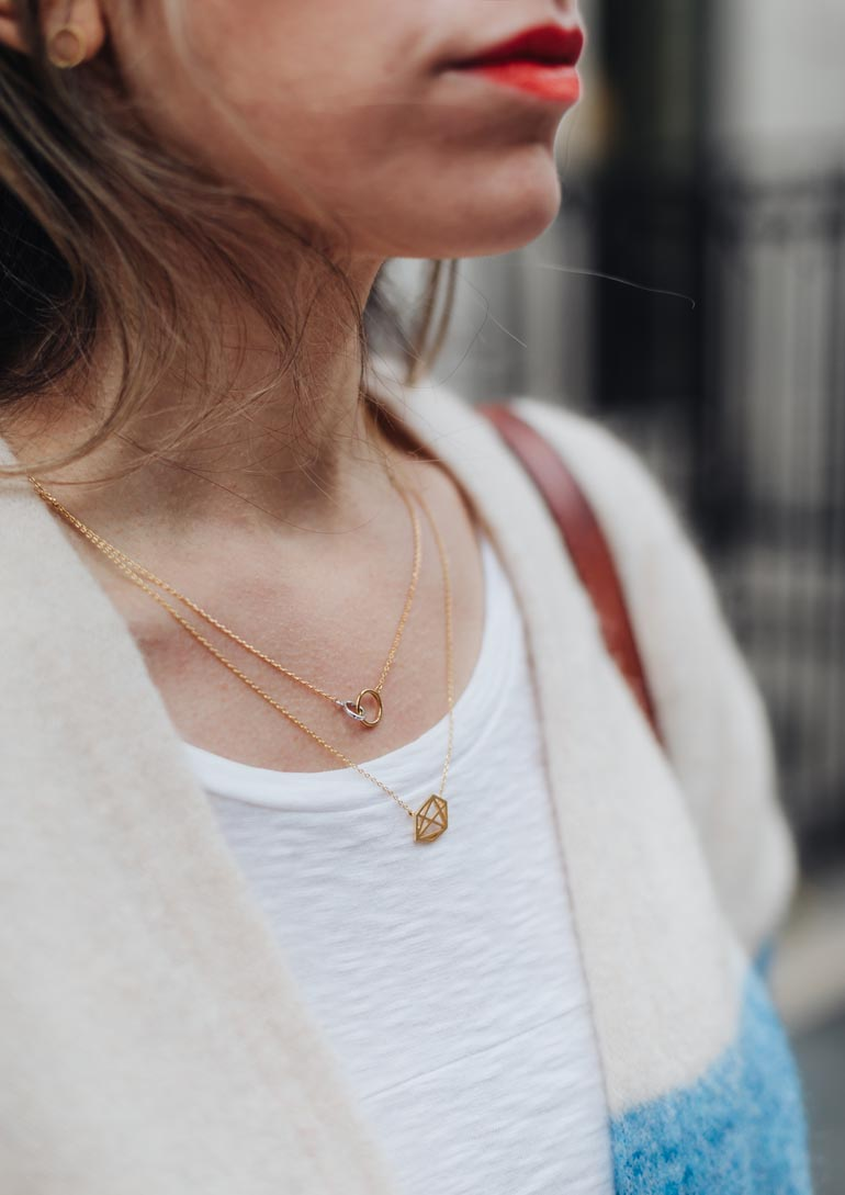 Geometric dainty necklace pendants from PRYSM