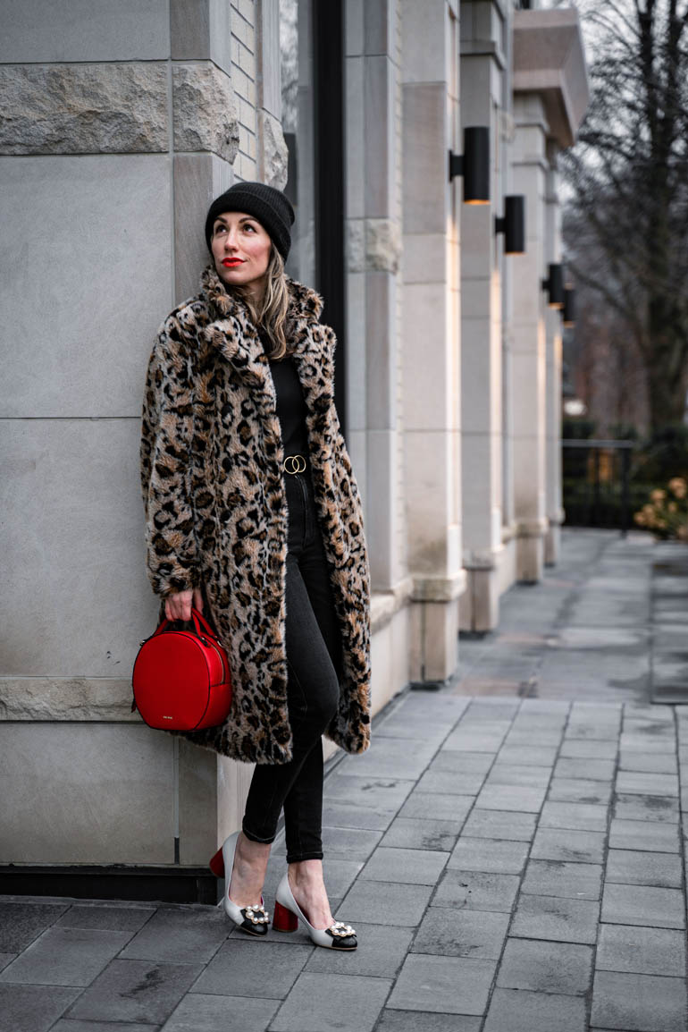 Leopard Print Faux Fur Coat Styled With Gucci Marmont Belt