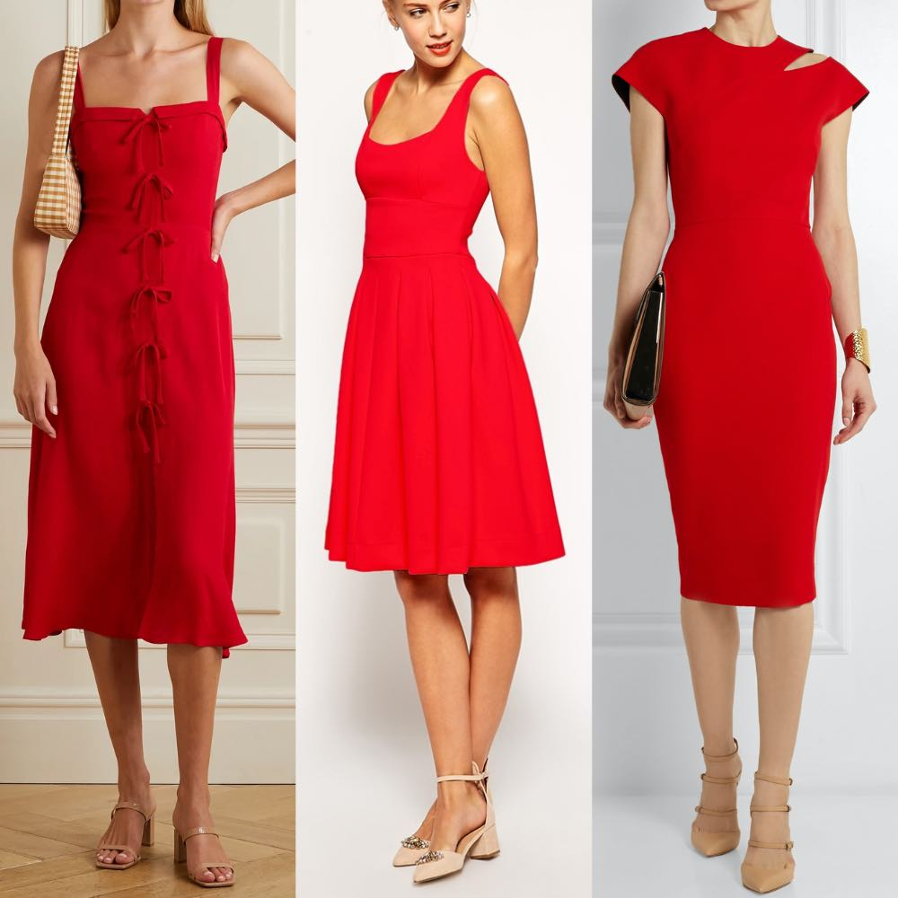 3 ladies wearing a red dress with nude shoes to illustrate what color shoes to wear with red dress.