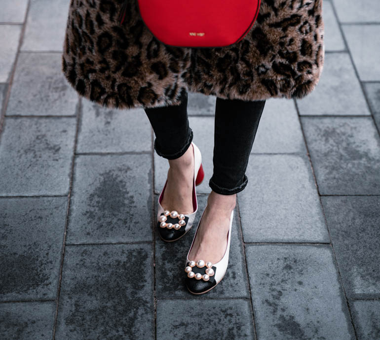 Leopard Print Faux Fur Coat Styled with Gucci Marmont Belt Dupe & Pearl Pumps