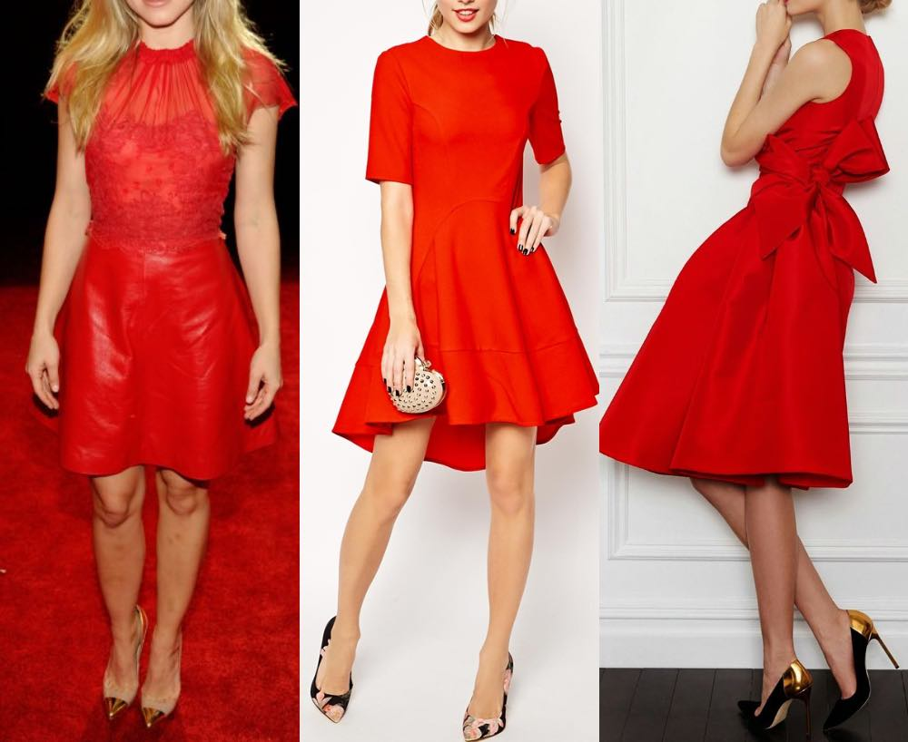 3 ladies wearing a red dress with gold blush shoes to illustrate what color shoes to wear with red dress.