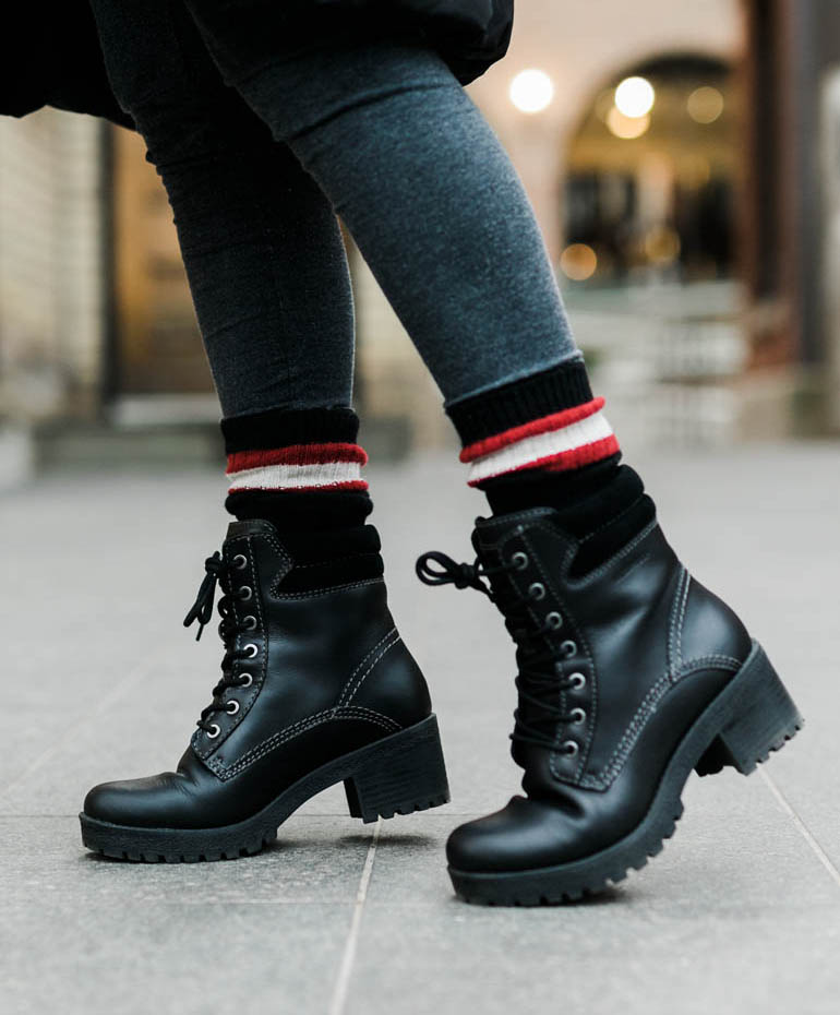Black Womens Waterproof Combat Boots Cougar Delson