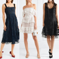 3 Women wearing lace dresses with the best shoes.