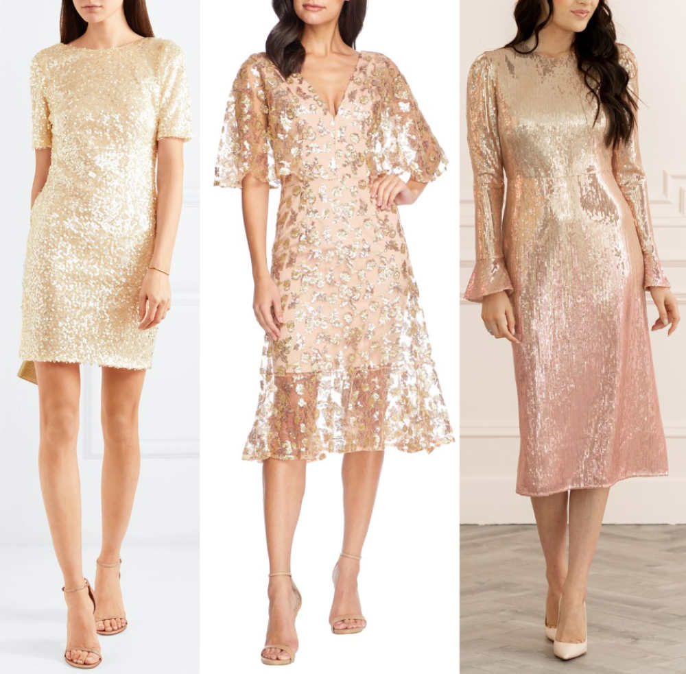 3 women wearing beige color shoes with champagne dresses