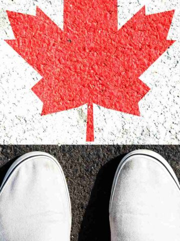 Canadian white shoes from above with Canadian Maple Leaf - Best Canadian Shoe Brands