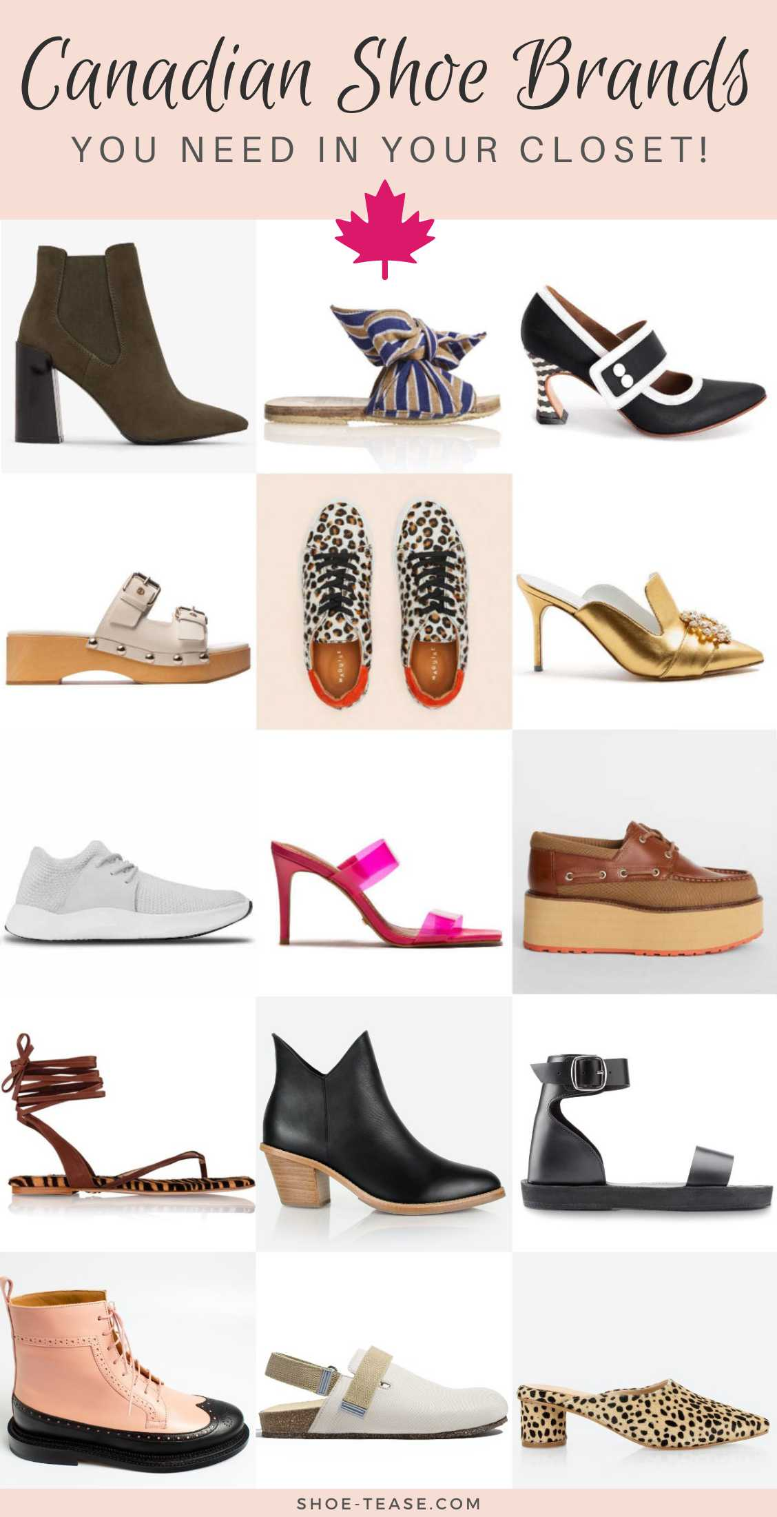 Collage of different shoes from the best canadian shoe brands.