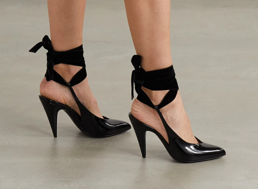 Woman wearing cone heels with ankle straps   Different types of heels by ShoeTease
