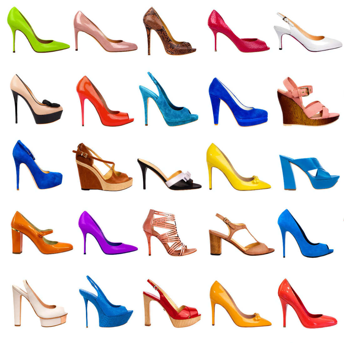 DIfferent types of heels in different colors on a white background.