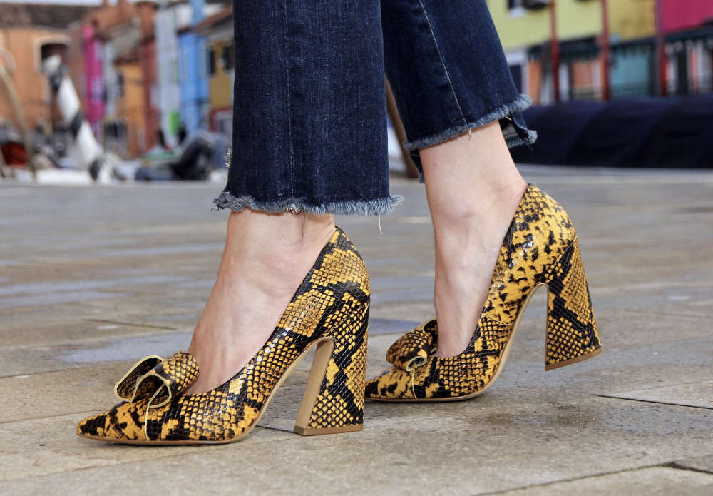 Yellow snake print shoes with flare heels   different types of heels