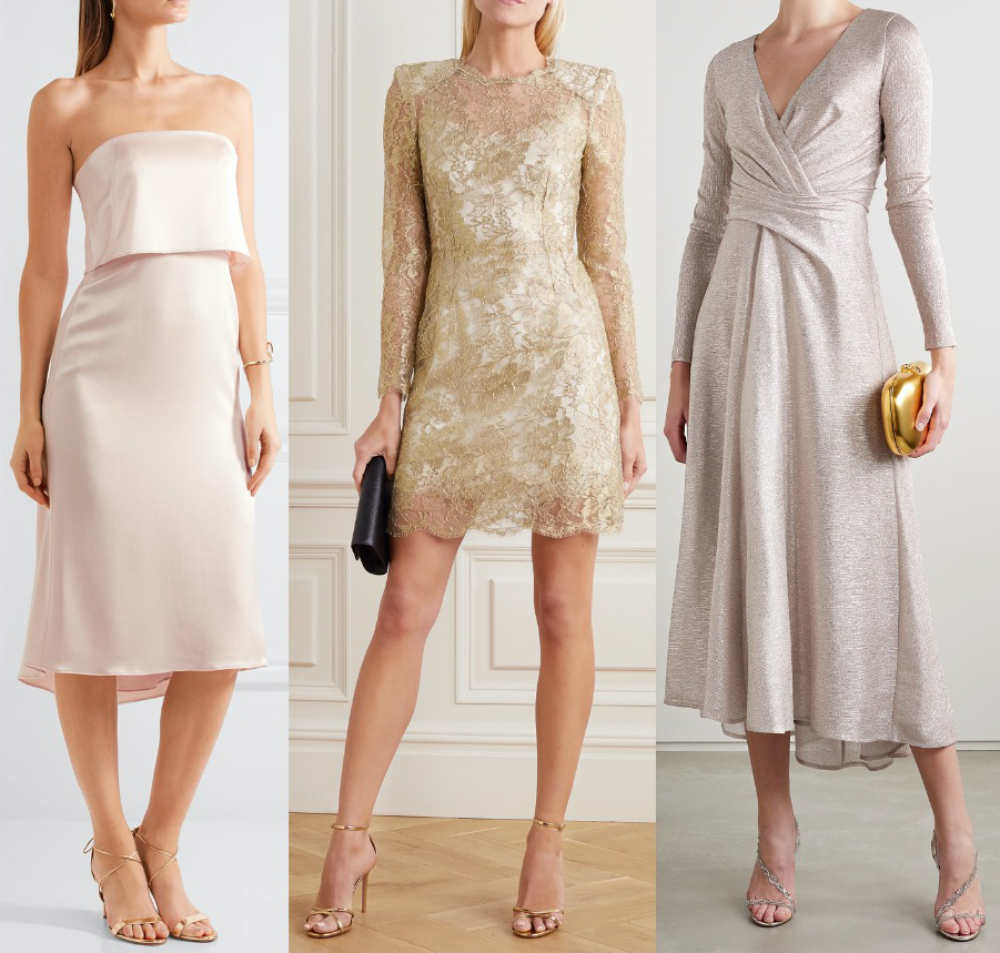 3 women wearing different color shoes with champagne dresses
