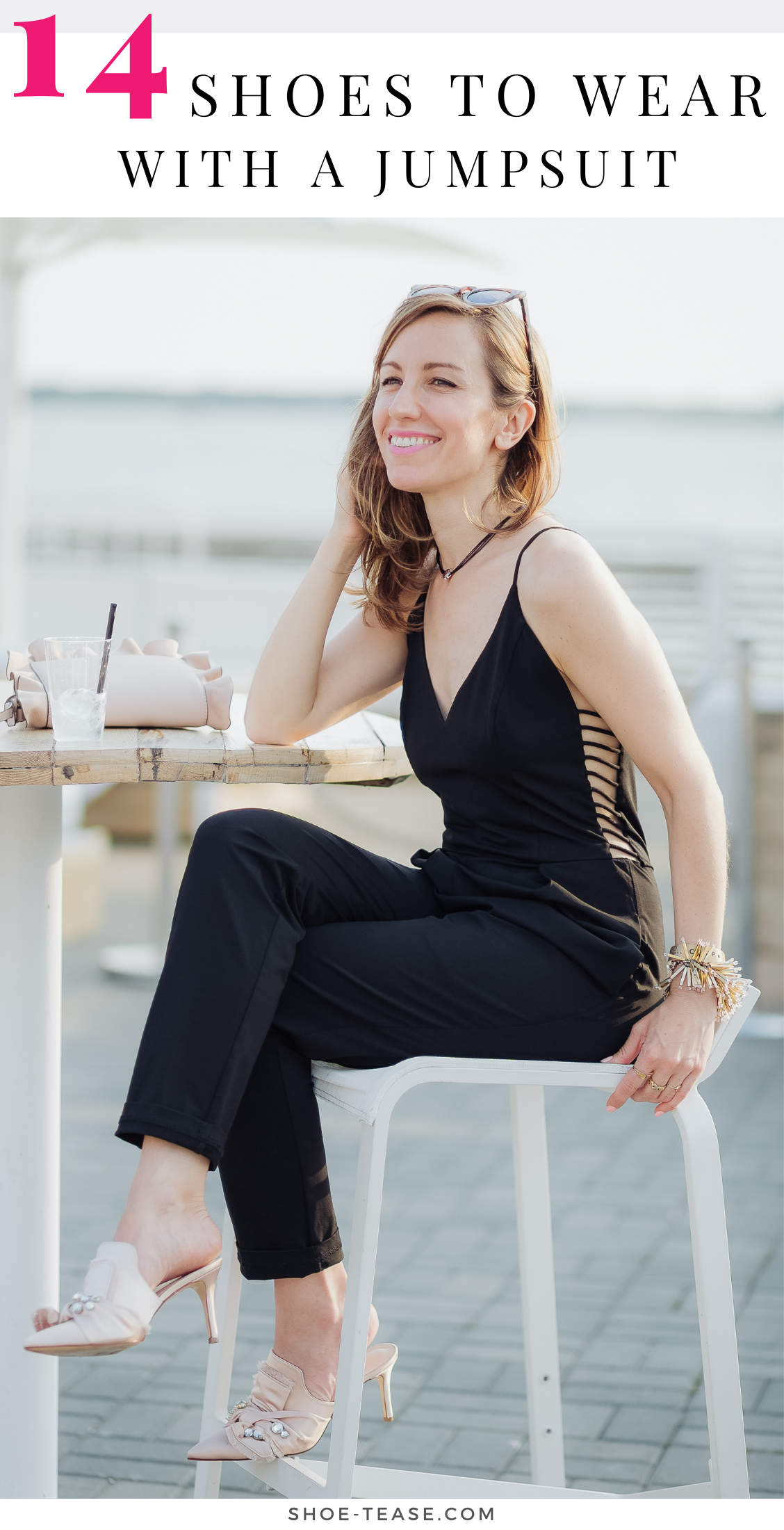 Lady sitting wearing Mule shoes to wear with jumpsuit blush accessories