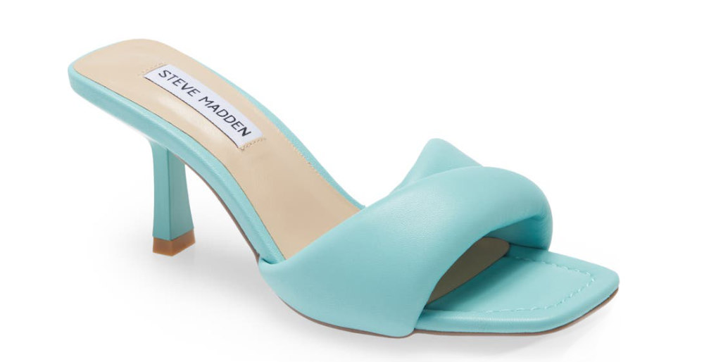 Turquoise puffy heel slides with slim heel on white background. Different types of heels by ShoeTease.