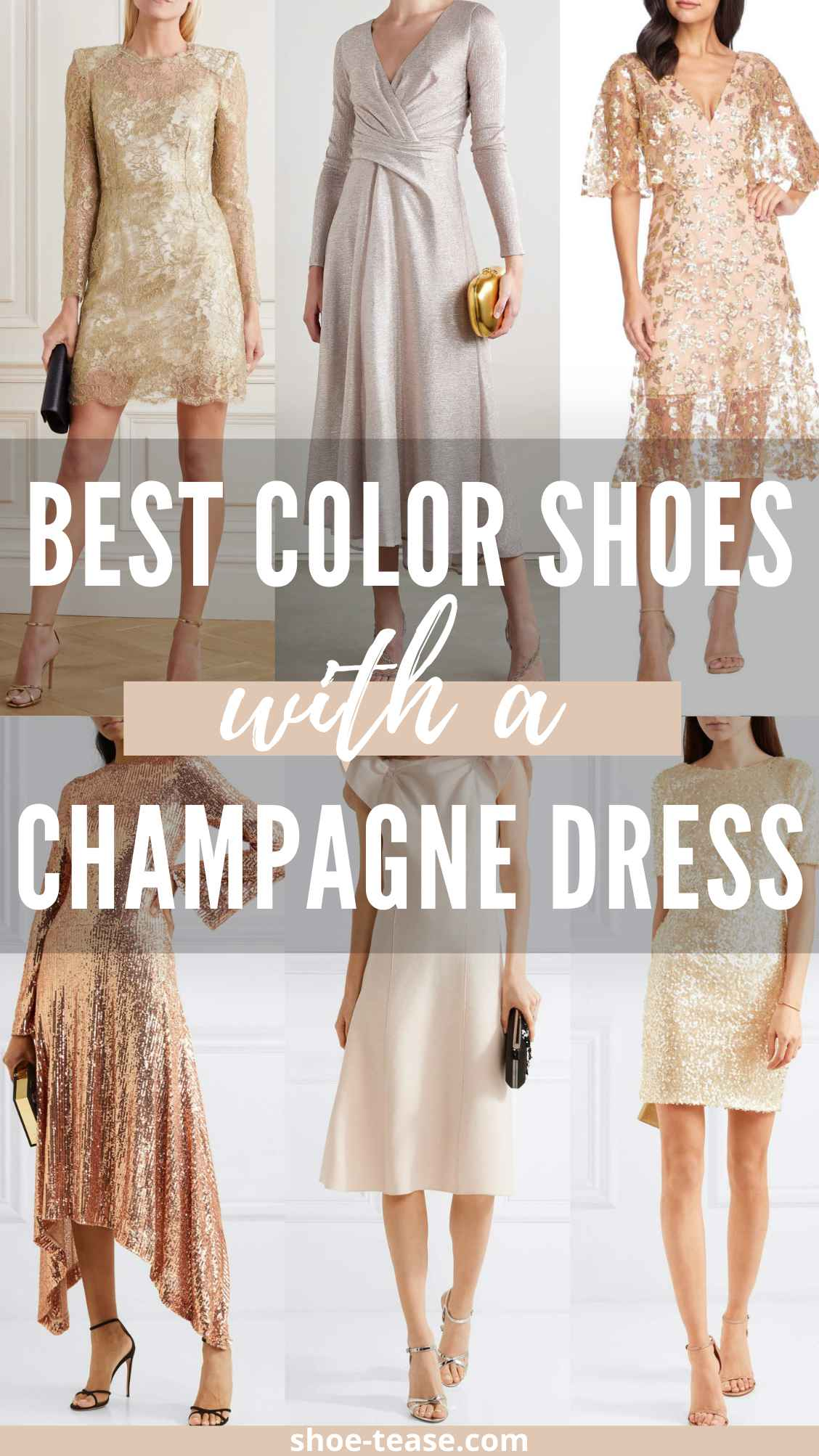 6 women wearing beige color shoes with champagne dresses