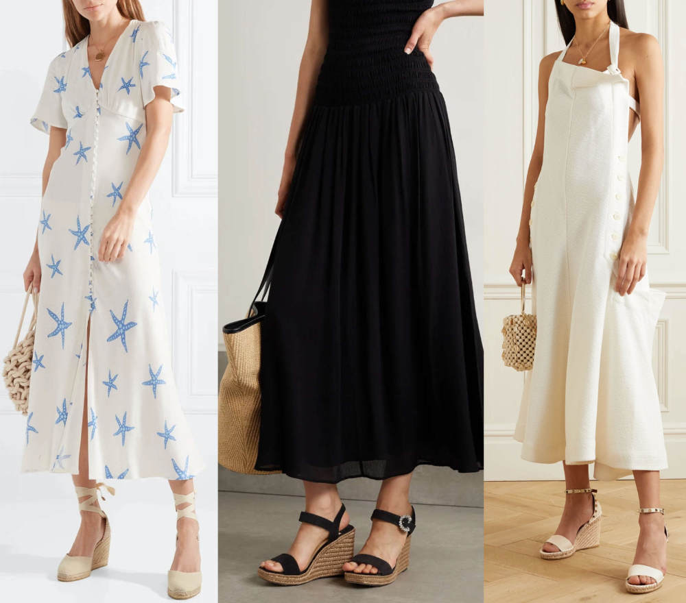 3 Women in Espadrilles Shoes to Wear with Maxi Dresses.