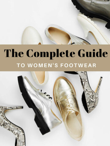 Collage of Different Types of Women's Shoes with text reading: the complete guide to women's footwear.